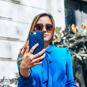 Christoph Blue Croc Phone Case